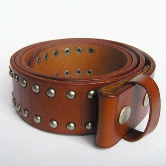 366cefc3f391 S 95cm ceinture en cuir véritable marron et rivet homme femme