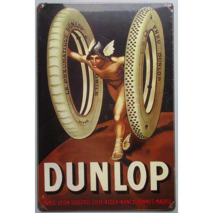 Plaque Tole épaisse Dunlop Pneu 45cm Deco Garage Diner Usa
