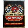 plaque hot rod shop speed demon diable tole publicitaire