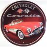 plaque corvette ronde rouge chevrolet tole publicitaire cab