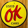 plaque used OK cars  jaune tole deco garage loft diner  usa