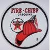 plaque texaco casque pompier rond fire chief deco huile usa