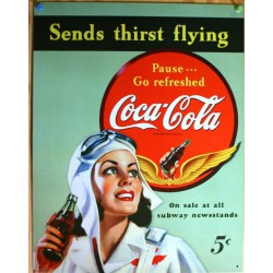 plaque coca cola pin up...