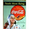 plaque coca cola pin up aviatrice tole deco bar diner loft