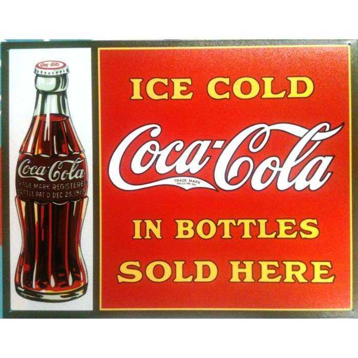 plaque coca cola ice cold affiche tole pub deco bar diner us. Black Bedroom Furniture Sets. Home Design Ideas