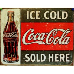 plaque coca cola ice cold...
