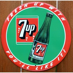 plaque seven up ronde tole...