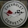 plaque chevrolet corvette 60cm logo drapeau tole deco usa