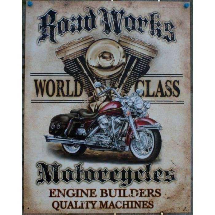 Plaque Road Works Moto Affiche Tole Déco Garage Loft Bar