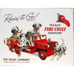plaque texaco chien pompier...