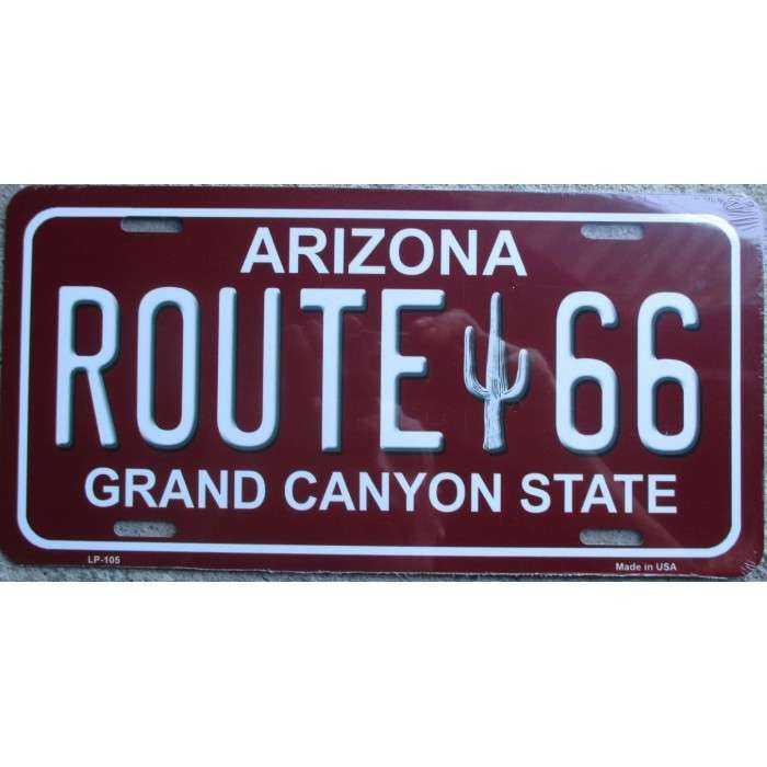 plaque d 39 immatriculation route 66 arizona rouge tole deco us