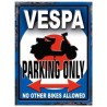 plaque vespa parking only bleu tole deco scooter garage
