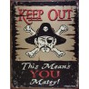 plaque keep out danger pirates !! tole deco drole  bar usa
