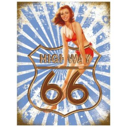 plaque pin up route 66 bleu...