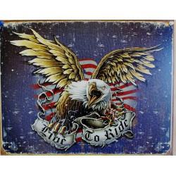 plaque aigle bleu live to...