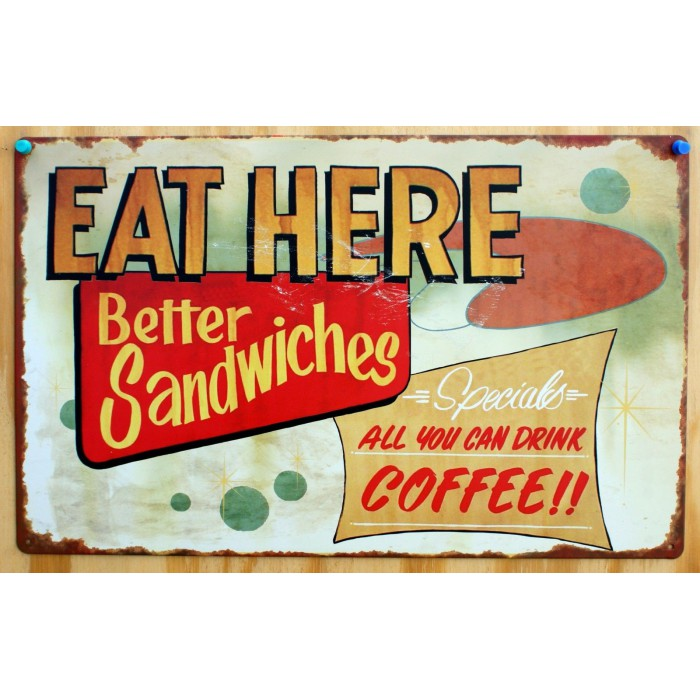 plaque eat here better sandwiches tole deco snack bar diner