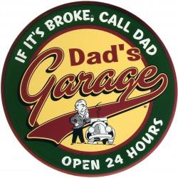 plaque dad's garage ronde...