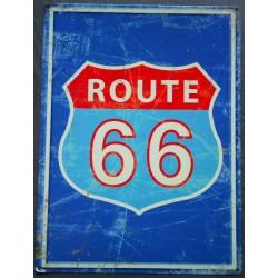 plaque route 66 bleu tole...