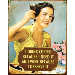 plaque pin up wine & coffe...