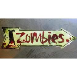 plaque zombies fleche tole...