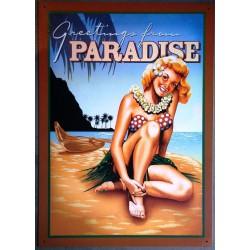 plaque hula girl paradise...