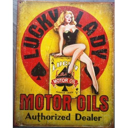 plaque lucky lady motor oil...