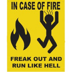 plaque in case of fire tole...