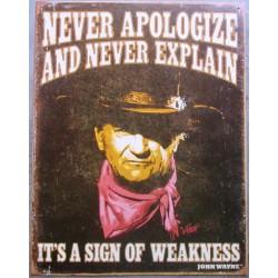 plaque john wayne never...