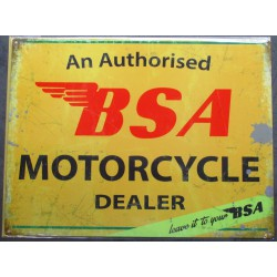 plaque moto BSA authorized...