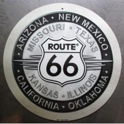 plaque route 66 ronde noir...