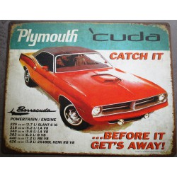 plaque plymouth cuda rouge...