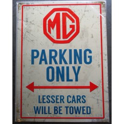 plaque mg parking only deco...