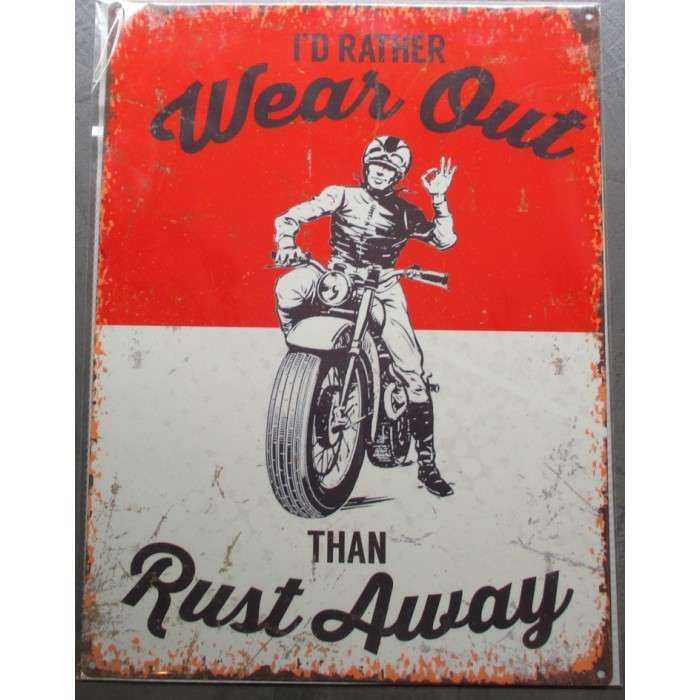 Plaque Rust Away Motorcycle Deco Garage Vielle Moto