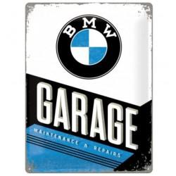 plaque BMW garage blanche...