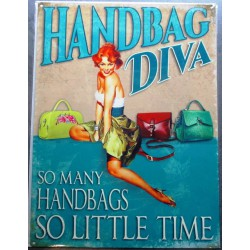 plaque pin up handbag diva...