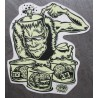 sticker frankenstein cerveau ? autocollant rock roll trash