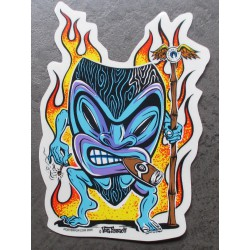 sticker tiki flammes fume...