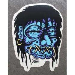 sticker shrunken head bleu...