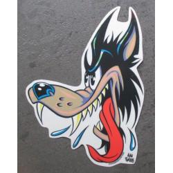 sticker tete de loup nez à...