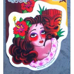 sticker pin up rousse fleur...