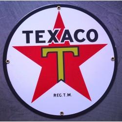 plaque emaillée texaco logo...