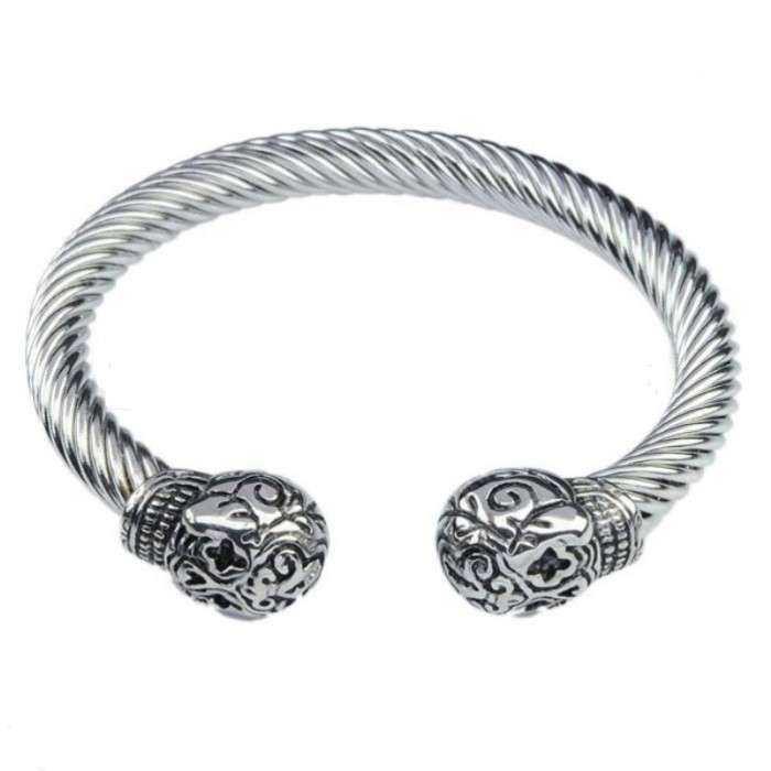 mode attrayante nouvelles promotions couleurs harmonieuses bracelet ouvert 2 crane tribal en inox homme femme biker