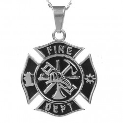 pendentif inox pompier fire...