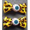 2 pince à cheveux oeil leopard jaune pin up punk rockab