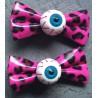 2 pince à cheveux oeil leopard rose pin up punk rockab