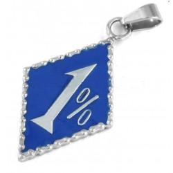 pendentif inox 1%  bleu...