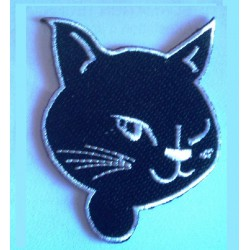 patch tete de chat noir et...