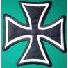 gros patch croix malte noir argent 18cm ecusson dos veste
