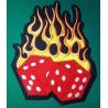 gros patch dé a flames rouge 24cm dos veste ecusson rockab