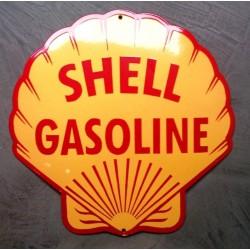 grosse plaque emaillée shell coquillage 40cm tole pub garage en email